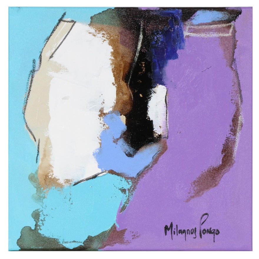 Milagros Pongo Mixed Media Painting of Abstract Composition