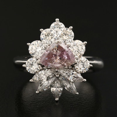 Platinum 2.40 CTW Diamond Ring with GIA Report with Fancy Purplish Pink Center