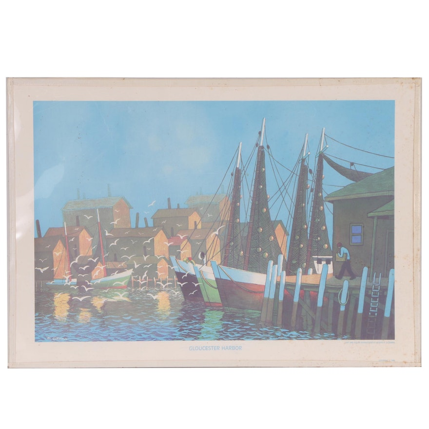 "Joseph Di Gemma Lithograph ""Gloucester Harbor"", Late 20th Century"