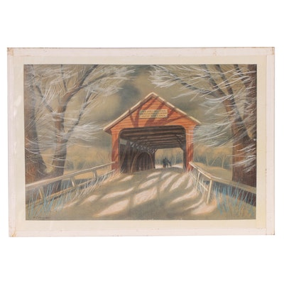 "Joseph Di Gemma Embellished Lithograph ""Old Covered Bridge"", Late 20th Century"