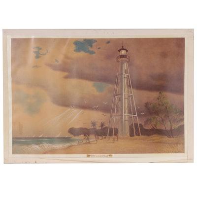 """Joseph Di Gemma Lithograph """"Gasparilla Island Light"""", Late 20th Century"""