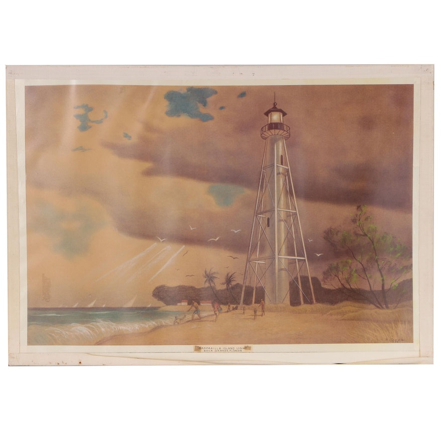 "Joseph Di Gemma Lithograph ""Gasparilla Island Light"", Late 20th Century"