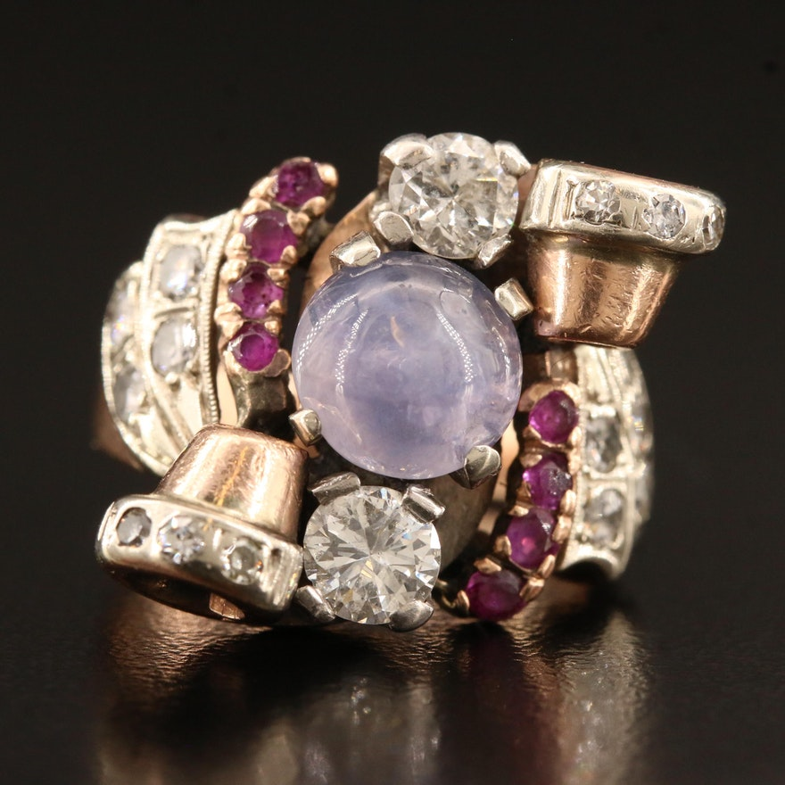 Retro 14K Star Sapphire, Ruby and 1.30 CTW Diamond Ring with Palladium Accents