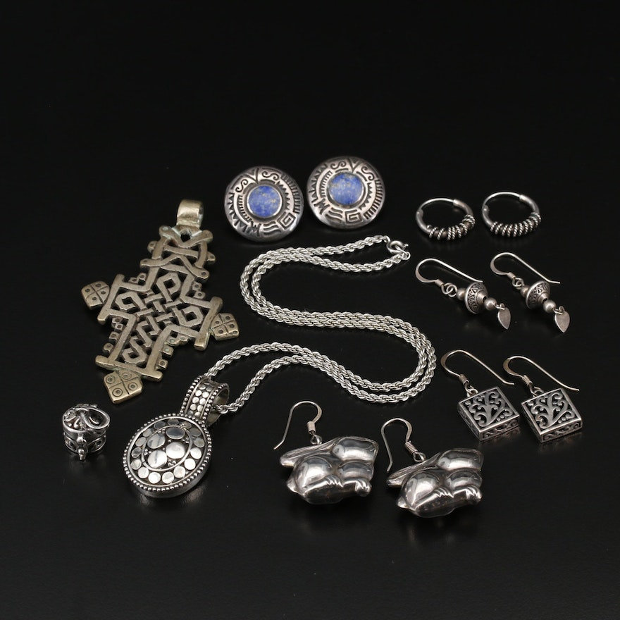 Collection of Jewelry Including Rabbit Earrings and Knotted Cross Necklace