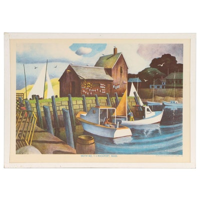 "Joseph Di Gemma Lithograph ""Motif No. 1-Rockport, Mass."", Late 20th Century"