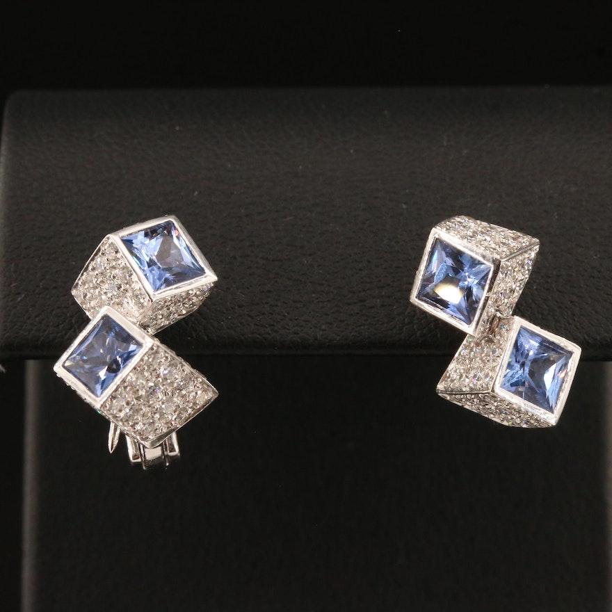 Roberto Coin 18K Sapphire and 2.30 CTW Diamond Converter Earrings