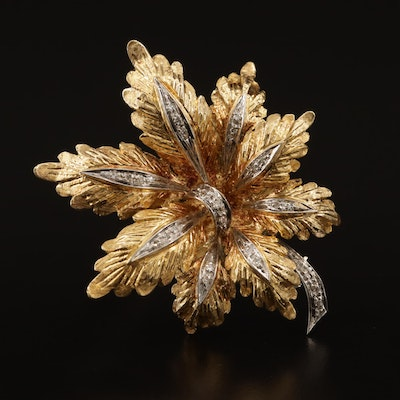 18K Diamond Foliate Brooch