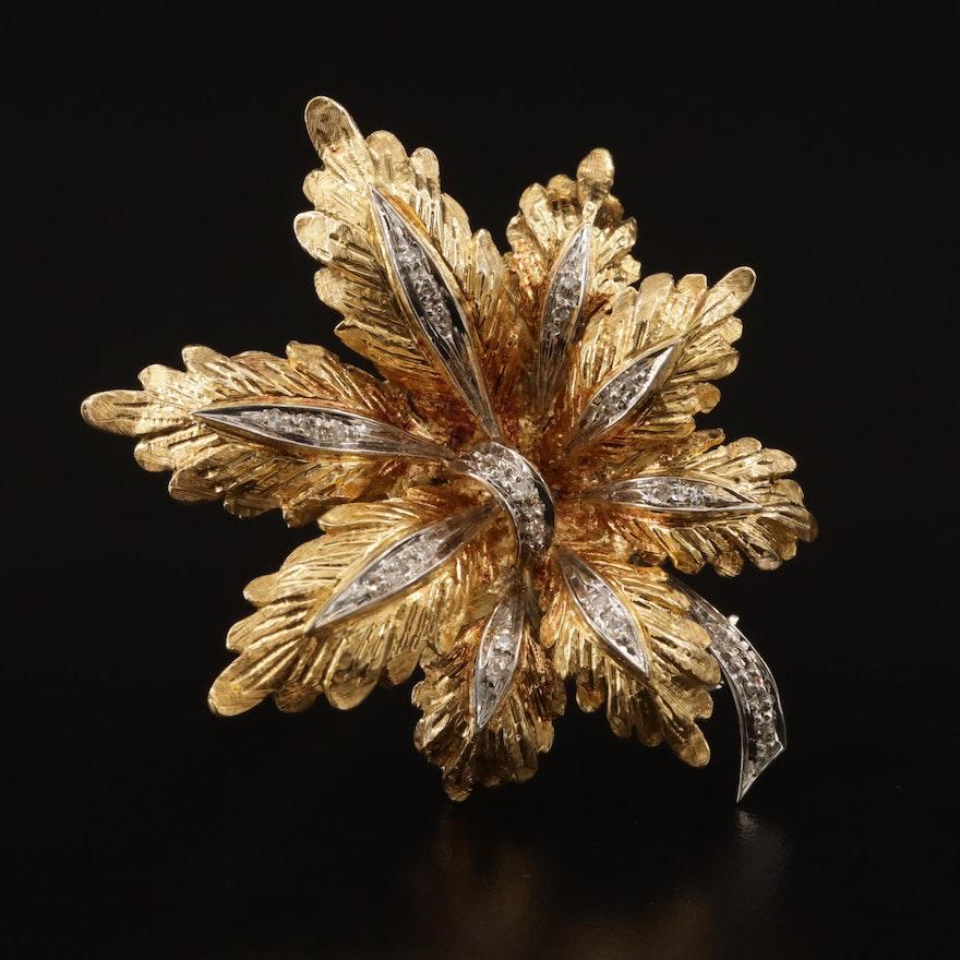 18K Diamond Foliate Brooch