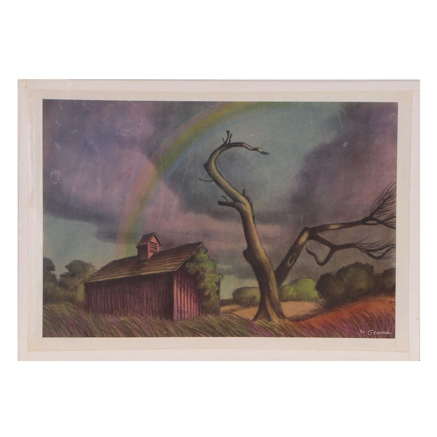 "Joseph Di Gemma Embellished Lithograph ""Deserted Farm"", Late 20th Century"