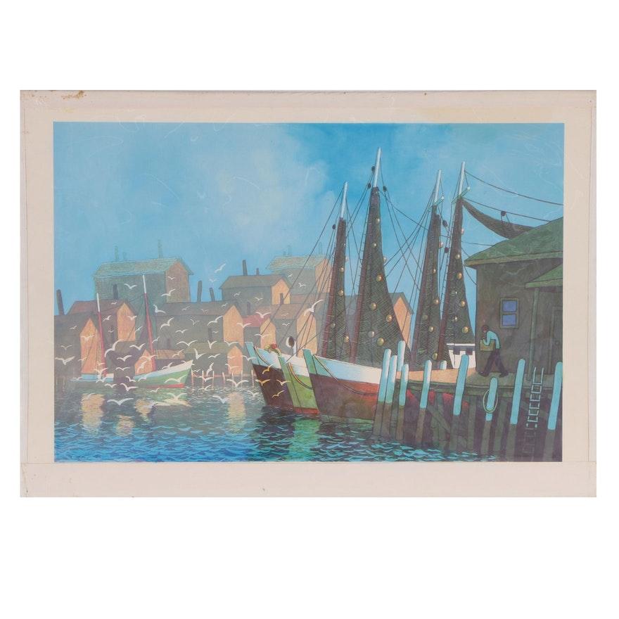 "Joseph Di Gemma Lithograph ""Gloucester Harbor"", Late 20th Century"
