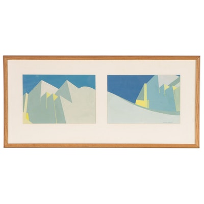 Virginia Hanson Abstract Gouache Paintings, Late 20th Century