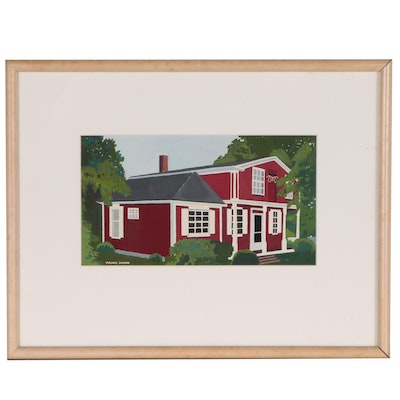 Virginia Hanson Gouache Painting of Schoolhouse, 21st Century