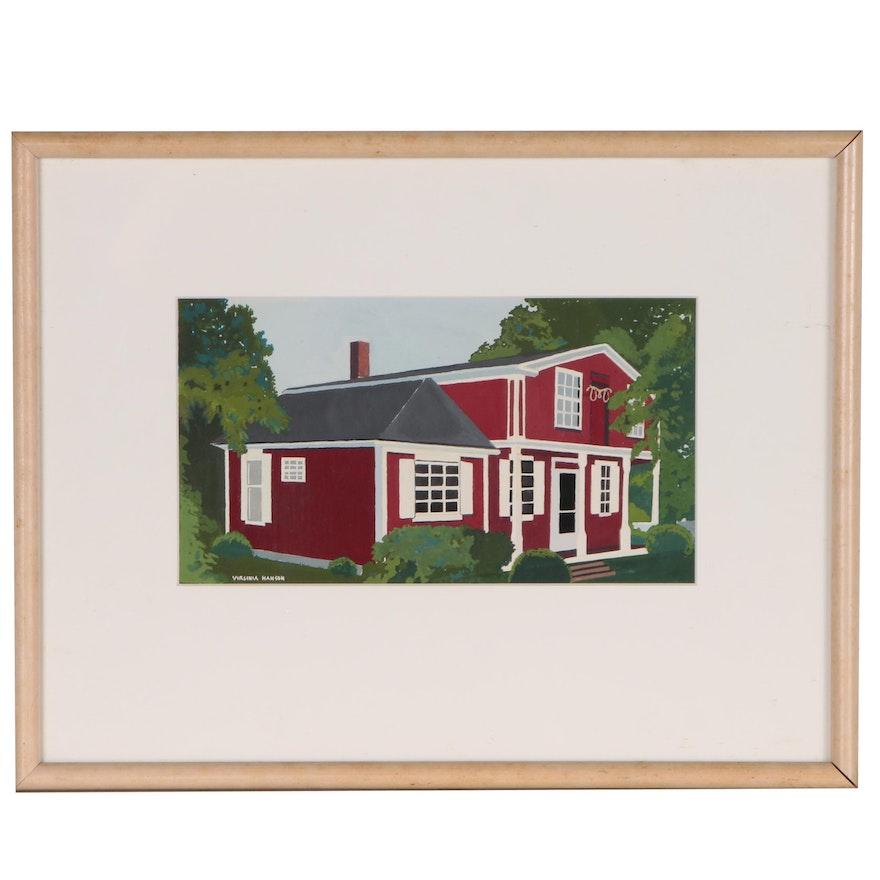 Virginia Hanson Gouache Painting of Schoolhouse, 21st Century