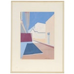 Virginia Hanson Abstract Gouache Painting of Buildings, Late 20th Century