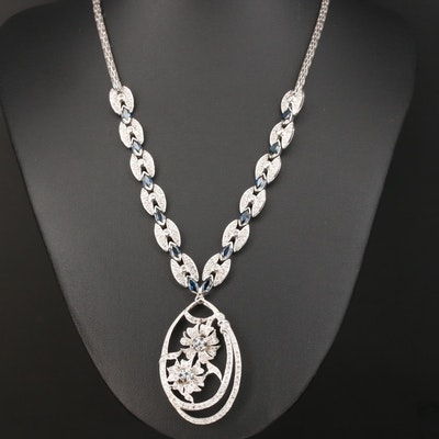 18K 4.03 CTW Diamond and Sapphire Necklace Featuring Floral Motif