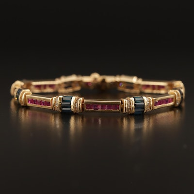 14K Sapphire, Ruby and Diamond Bracelet