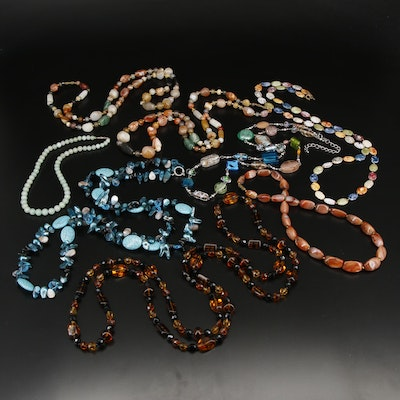 Collection of Beaded Necklaces with Agate, Howlite and Mother of Pearl