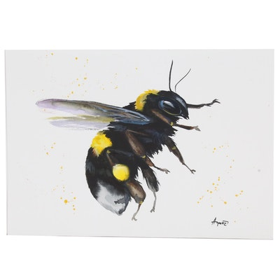 Anne Gorywine Watercolor Painting of Bee, 2020