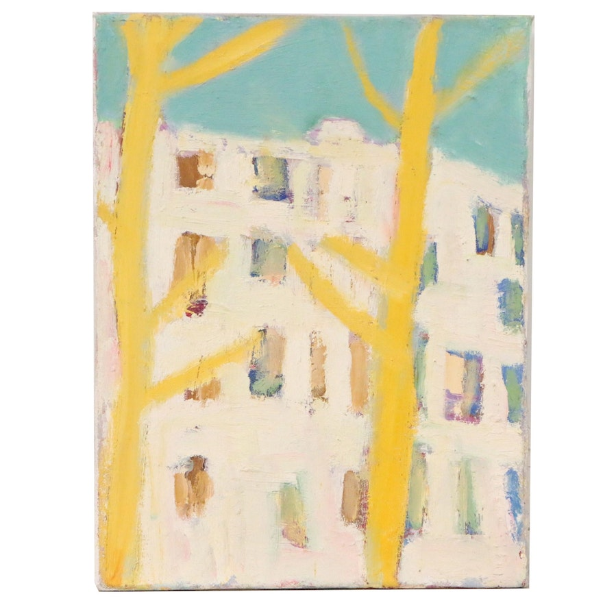 Jerald Mironov Abstract Oil Painting of Building, Late 20th Century