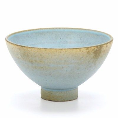 Suzanne Ramié Atelier Madoura Glazed Earthenware Footed Bowl, Mid-20th Century