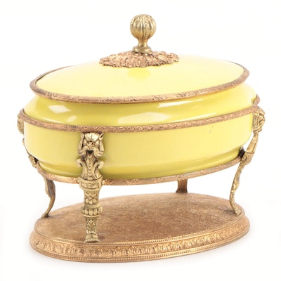 French Gilt Metal Mounted Porcelain Casket, Early 20th Century