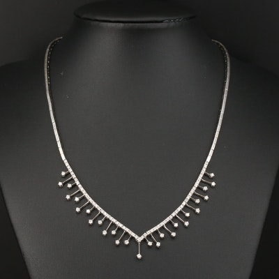 18K 1.03 CTW Diamond Chevron Fringe Necklace