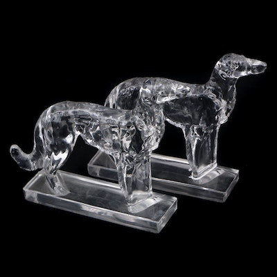 Pair of Glass Greyhound Bookends, Late 20th Century