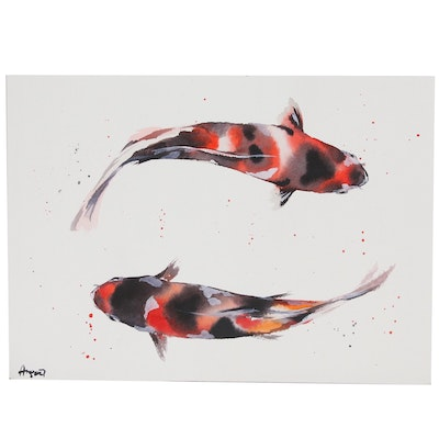 Anne Gorywine Watercolor Painting of Koi, 2020