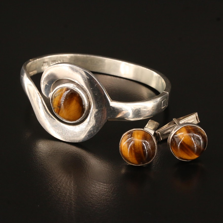 Mexican Sterling Silver Tiger's Eye Bracelet and Cufflinks Set