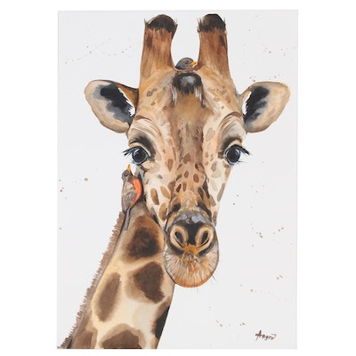 Anne Gorywine Watercolor Painting of Giraffe, 2020
