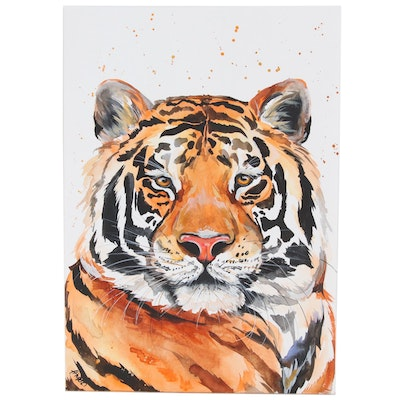 Anne Gorywine Watercolor Painting of Tiger, 2020