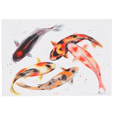 Anne Gorywine Watercolor Painting of Koi Fish