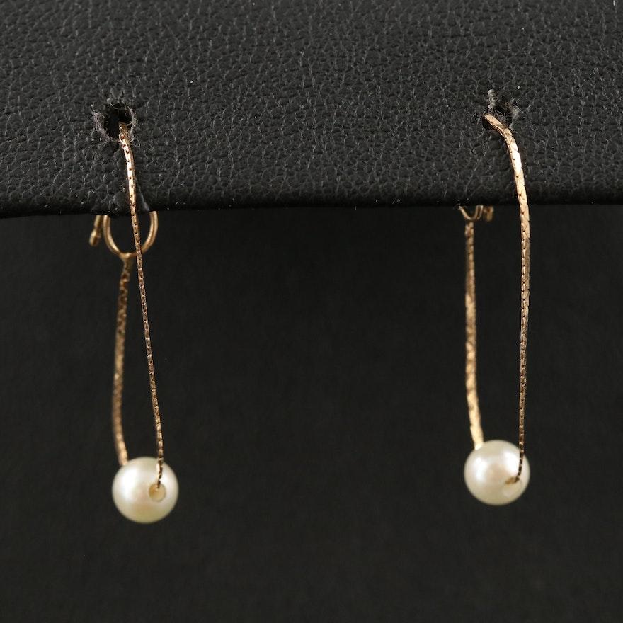 14K Pearl Chain Hoop Earrings