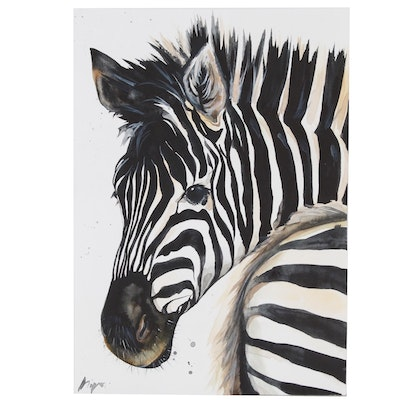 Anne Gorywine Watercolor Painting of Zebra, 2020