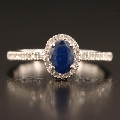 14K Sapphire Ring with Diamond Halo and Shoulders