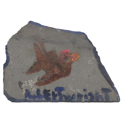 Robert Wright Acrylic Painting of Bird on Slate