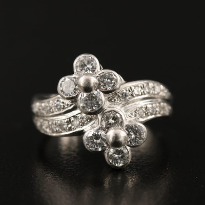 Platinum 1.00 CTW Diamond Flower Motif Ring