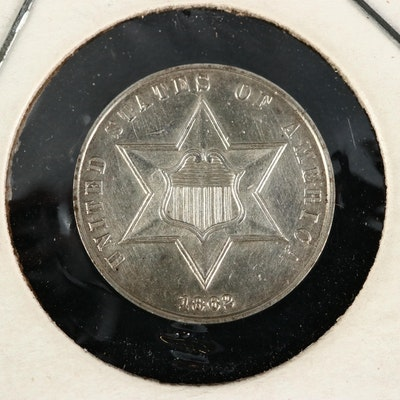 "1862 3-Cent Silver ""Trime"" Coin"