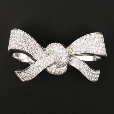 18K 7.74 CTW Diamond Bow Brooch