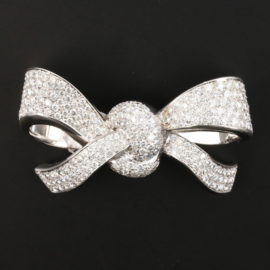 18K 7.74 CTW Diamond Bow Brooch