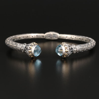Sterling Silver Hinged Cuff with Topaz Ends and 18K Accents