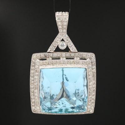 Platinum 52.00 CT Aquamarine and 3.33 CTW Diamond Pendant