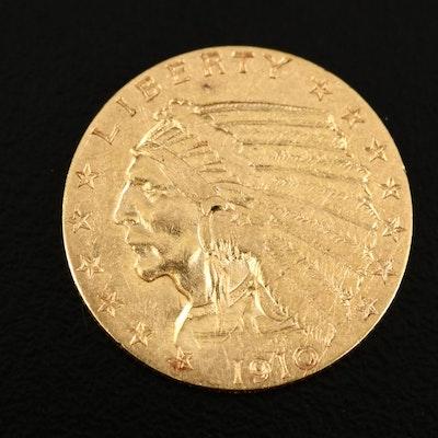 1910 Indian Head $2.50 Gold Quarter Eagle Coin