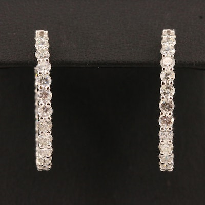 14K 3.30 CTW Diamond Inside Out Hoop Earrings