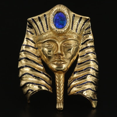 18K Opal Triplet and Diamond Egyptian Pharaoh Converter Fur Clip