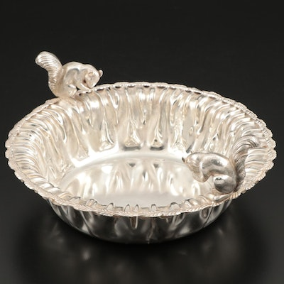 Empire Silver Co. Silver Plate Serving Bowl with Squirrels