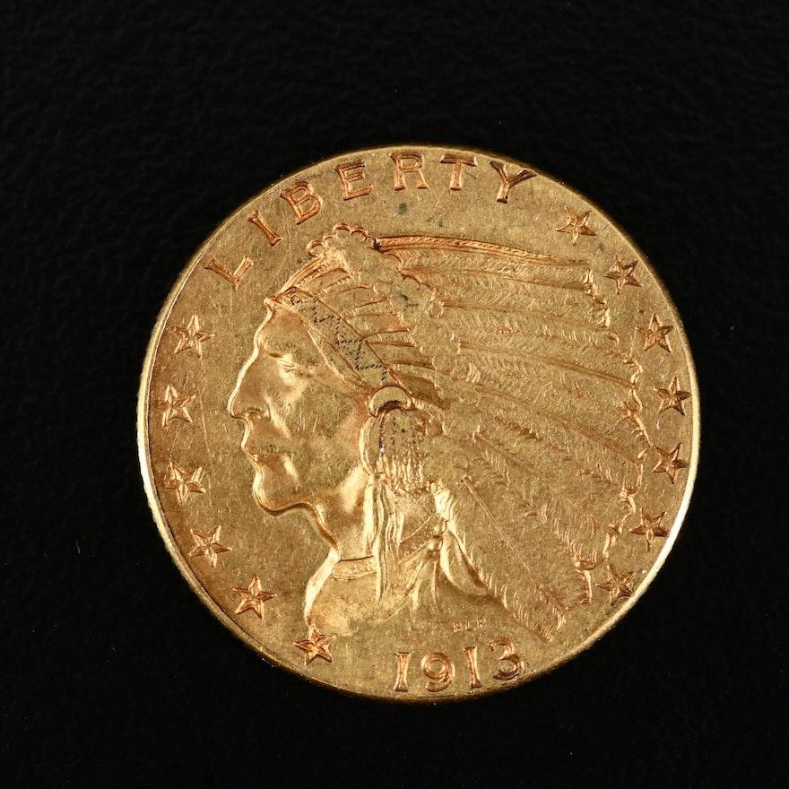 1913 Indian Head $5 Gold Half Eagle Coin