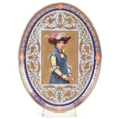 Royal Vienna Gilt Porcelain Portrait Plate after Wilhelm Menzler, Late 19th C.