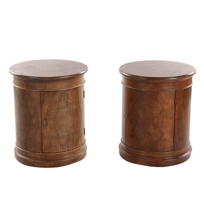 Henredon Charles X Burl Wood Drum Cabinet Side Tables