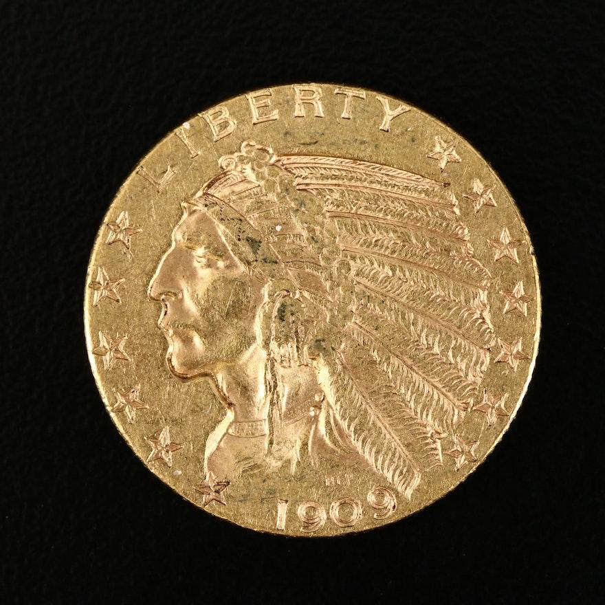 1909-D Indian Head $5 Gold Half Eagle Coin